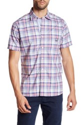 Psycho Bunny Plaid Short Sleeve Trim Fit Shirt Pink