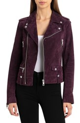Bagatelle Suede Biker Jacket Mulberry