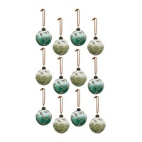 Amara Assorted Baubles With Leaves Set Of 12 Green
