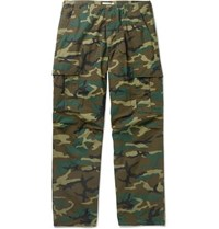 Orslow Camouflage Print Cotton Ripstop Cargo Trousers Green