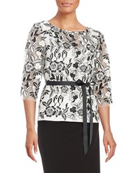 Alex Evenings Floral Lace Embroidered Top White Black