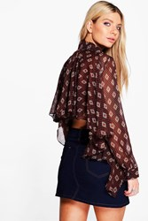 Boohoo Ruffle Back Tile Print Shirt Black