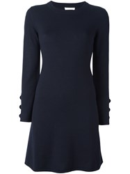 See By Chloe A Line Knitted Dress Blue