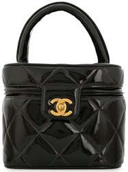 Chanel Vintage Quilted Cc Cosmetic Vanity Hand Bag Black