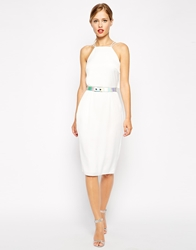 Asos Holographic Belted Midi Pencil Dress Ivory