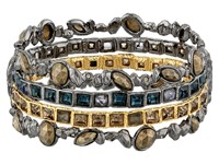 Alexis Bittar Stacked Rocky Hinge W Rose Cut Pyrite Ruthenium With Gold Bracelet