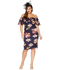 Unique Vintage Plus Size Sophia Wiggle Dress Navy Pink Floral Purple