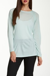 Eileen Fisher Crew Neck Merino Wool Pointelle Sweater Blue