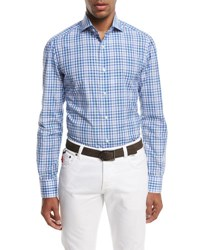 Isaia Check Cotton Sport Shirt Blue Green