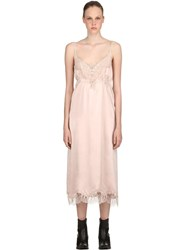 Pink Memories Silk And Lace Midi Dress Nude