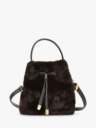 Ralph Lauren Dryden Debby Faux Fur Bucket Bag Black