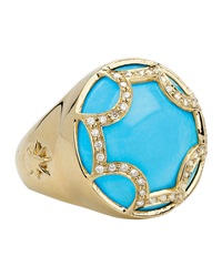 Elizabeth Showers Maltese Diamond Turquoise Ring Size 7