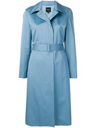 Theory Belted Trench Coat Blue