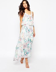 Boss Orange Aglamy Maxi Dress In Watercolour Floral Open Miscellaneous