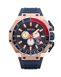 Brera Orologi Gran Turismo 14K Rose Gold And Navy Blue Ionic Plated Stainless Steel Watch With Navy Blue Rubber Strap 54Mm