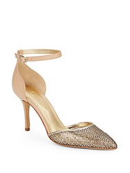 Enzo Angiolini Circini Two Tone Chain Mesh D'orsay Pumps Gold Nude