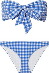 Ganni Jewett Gingham Seersucker Bikini Blue