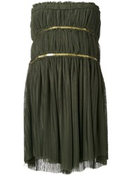 Jay Ahr Gold Tone Detail Strapless Dress Green