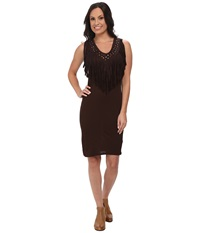 Rock And Roll Cowgirl Sleeveless Dress 19 4309 Chocolate Women's Dress Brown