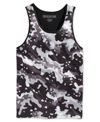Ring Of Fire Men's Black And White Camouflage Print Tank