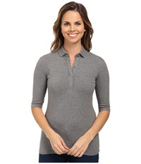 Lacoste Half Sleeve Slim Fit Stretch Pique Polo Shirt Stone Grey Women's Short Sleeve Knit Gray
