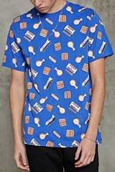 Forever 21 Chicken And Waffles Graphic Tee Blue Brown