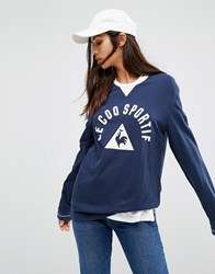 Le Coq Sportif Premium Retro Long Sleeve T Shirt Navy