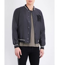 Alexander Mcqueen Embroidered Detail Wool Blend Bomber Jacket Dark Grey