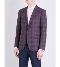 Armani Collezioni Checked Modern Fit Wool Jacket Raspberry
