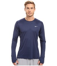 Nike Dry Miler Long Sleeve Running Top Midnight Navy Reflective Silver Men's Workout Blue