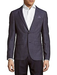Sand Slim Fit Wool Dot Texture Sportcoat Navy