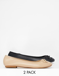 Asos Lily Pad Two Pack Ballet Flats Blackandnude