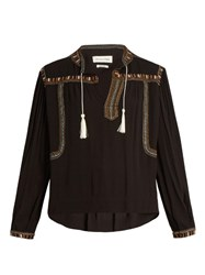 Etoile Isabel Marant Cabella Embroidered Crepe Top Black Multi
