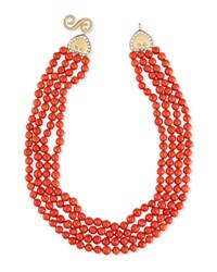 Splendid Company Four Strand Italian Coral Bead Necklace