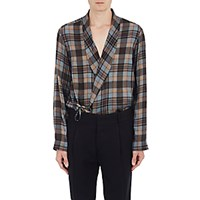 Dries Van Noten Men's Plaid Wrap Shirt No Color