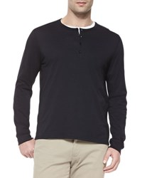 Vince Long Sleeve Jersey Henley Black