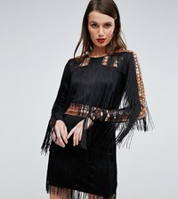 A Star Is Born Mini Dress In Jersey With Embellished Studs And Fringing Black