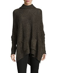 Design Lab Lord And Taylor Knit Turtleneck Pocho Sweater Olive Twist