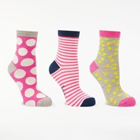 Boden Spot Stripe And Bird Print Ankle Socks Pack Of 3 Carmine Rose Multi