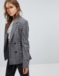 Bershka Check Lace Up Blazer Multi