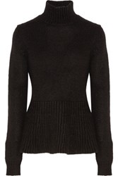 Derek Lam Knitted Turtleneck Peplum Sweater Black