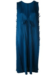 Issey Miyake Pleats Please By Sleeveless Pleated Midi Coat Women Polyester Iii Blue