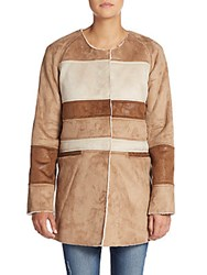 Sam Edelman Patchwork Faux Shearling Coat Saddle