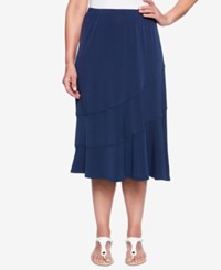 Alfred Dunner Royal Street Tiered A Line Skirt Navy