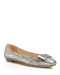 Delman Froth Metallic Snake Embossed Ballet Flats Silver
