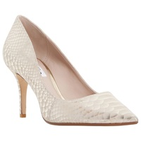 Dune Alina Pointed Mid Heel Court Shoes Reptile Gold