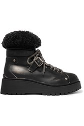 Miu Miu Shearling Trimmed Leather Ankle Boots Black