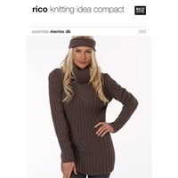 Rico Essential Merino Dk Women's Roll Neck Jumper Knitting Pattern 043
