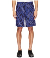 Versace Printed Shorts Viola Stampa Men's Shorts Blue
