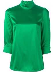 Dolce And Gabbana High Collar Blouse Green